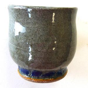 Hand thrown stoneware art pottery vase gray blue